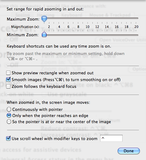 Zoom Options in System Preferences