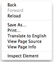 Chrome contextual menu
