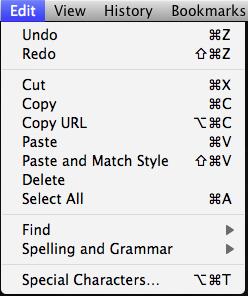 Chrome Edit Menu