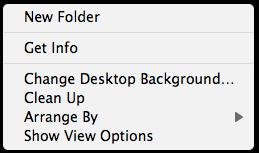 Desktop contextual menu