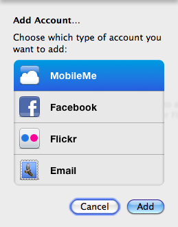 iPhoto Add Account window