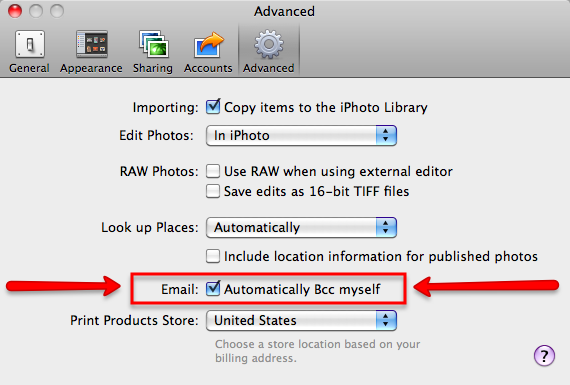 iPhoto Advanced Preference - Automatically Bcc myself
