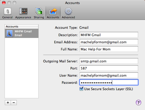 iPhoto Email Account Added