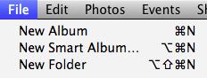 iPhoto File menu