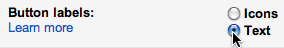 Gmail button labels setting