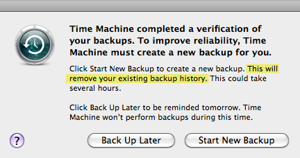 Time Machine must create new backup